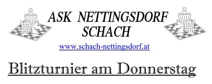 Blitzturnier am Donnerstag - ASK Nettingsdorf