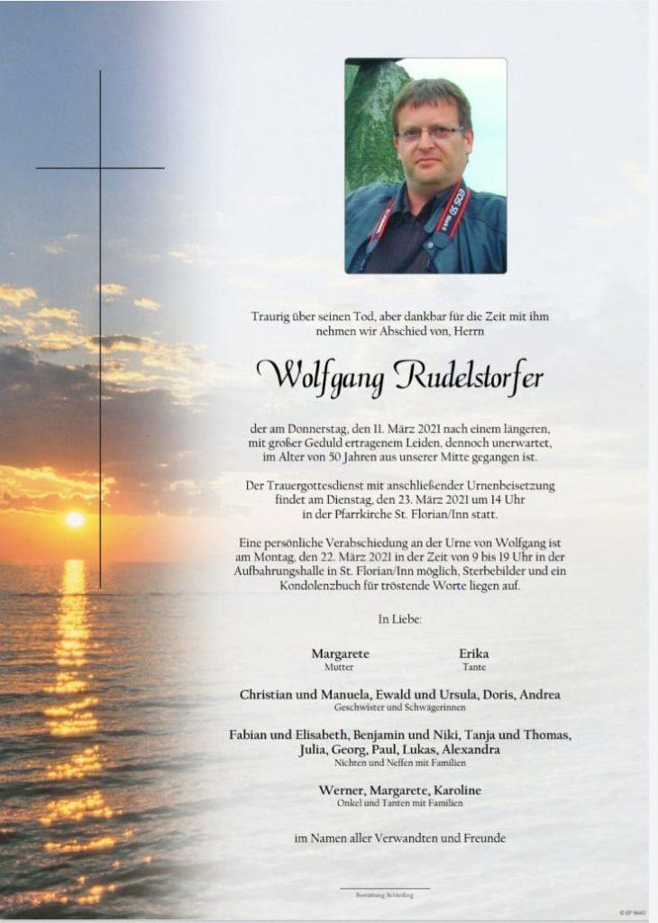 Wolfgang Rudelstorfer Traueranzeige
